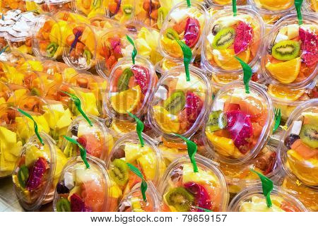 Fruit salads at a market