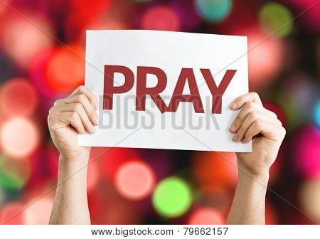 Pray card with colorful background with defocused lights