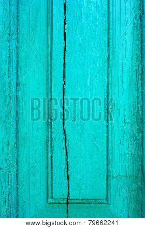 Old Cracked Wooden Turquoise Board