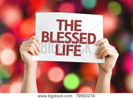 The Blessed Life card with colorful background with defocused lights