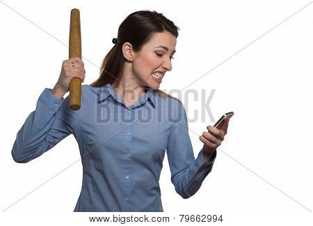 Angry Woman Screaming And Threatens With Rolling-pin Holding A Phone Isolated