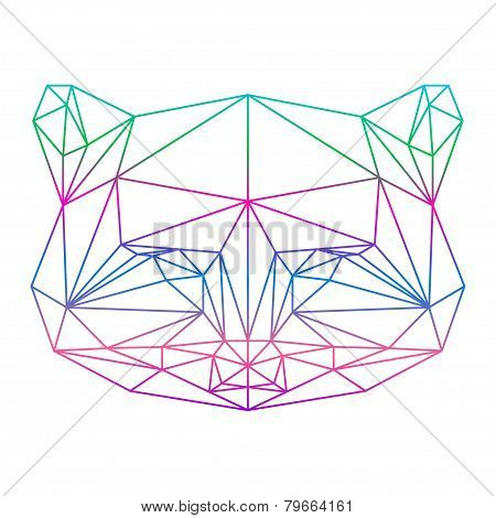 Polygonal Abstract Raccoon Silhouette Drawn In One Continuous Line Isolated On A White Background