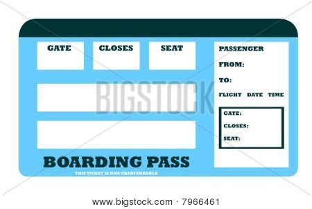 Blank Aircraft Boarding Pass