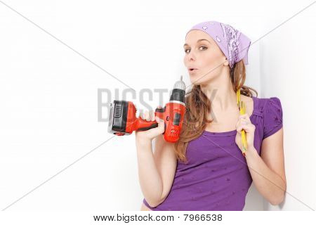 Home Improvements woman with drill