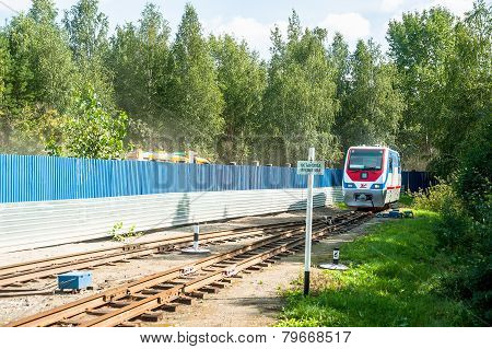 TU10-011 locomotive on Children railroad. Russia
