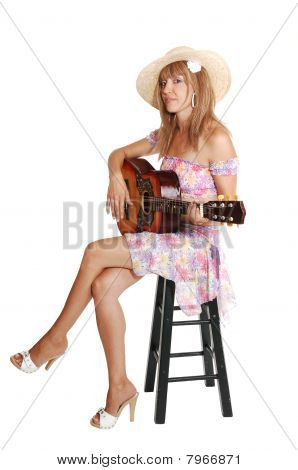 Brunette Girl With Guitar.