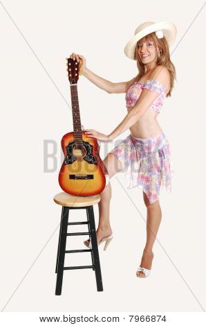 Blond Girl With Guitar.