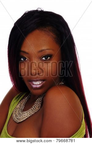 Portrait Attractive African American Woman Bare Shoulder