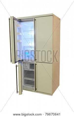 large four-door refrigerator isolated under the white background