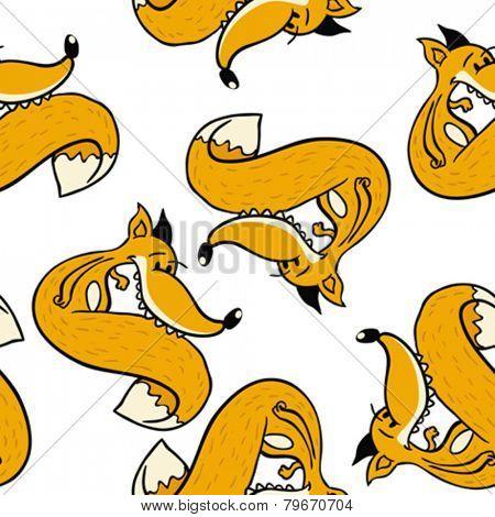 fox seamless pattern on white
