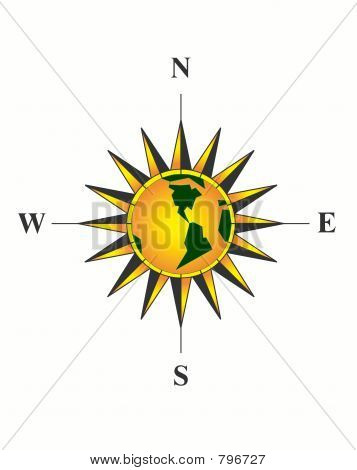 Compass. Yellow planet