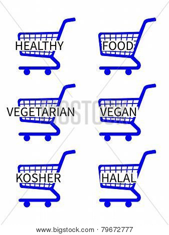 Blue Shopping Cart Icons With Healthy Food Texts
