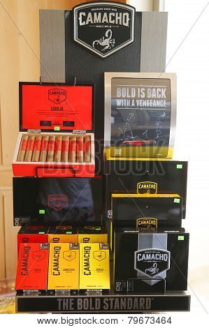 Camacho Cigars on display at cigar shop in Punta Cana