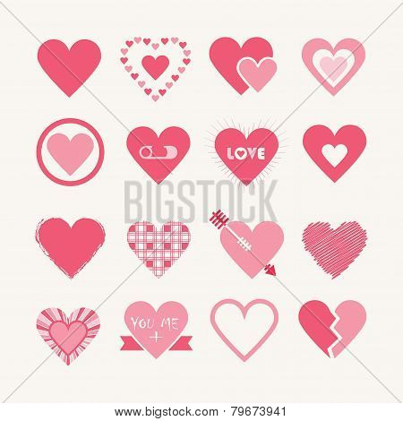Assorted designs of pink hearts icons set on off white background
