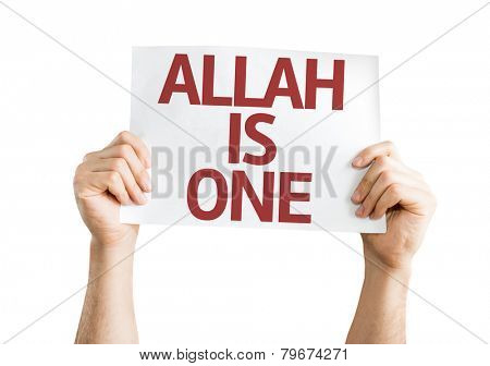 Allah is One card isolated on white background