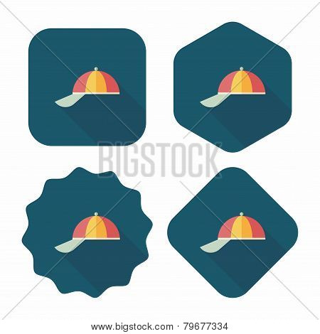 Peaked Cap Flat Icon With Long Shadow,eps10