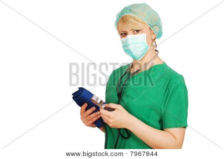 woman doctor with blood pressure device