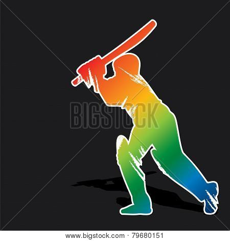 creative abstract cricket player design