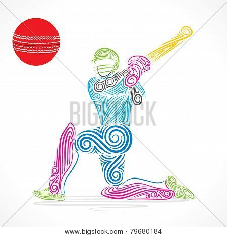 creative abstract cricket player design by brush stroke vector
