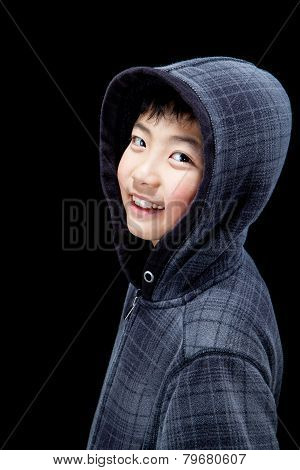 Cute Asian Boy Wearing Hoodie