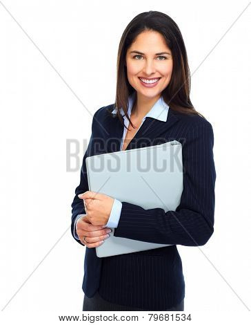 Young smiling business woman with a book isolated on white background.