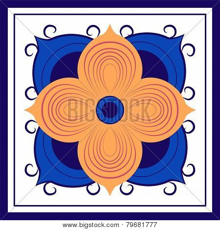 Yellow Abstract Floral Tile