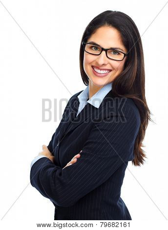 Young business woman with eyeglasses isolated white background.
