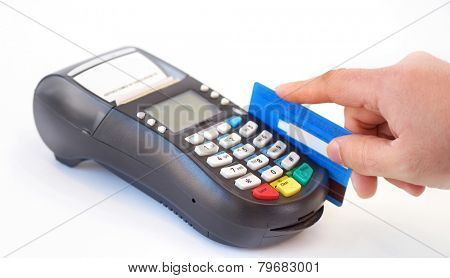 holding plastic card in payment machine