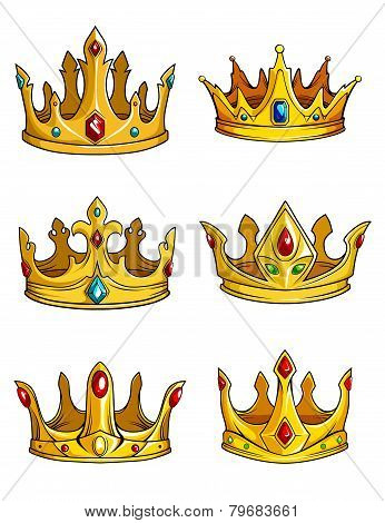 Six golden royal crowns, decorated with gemstones