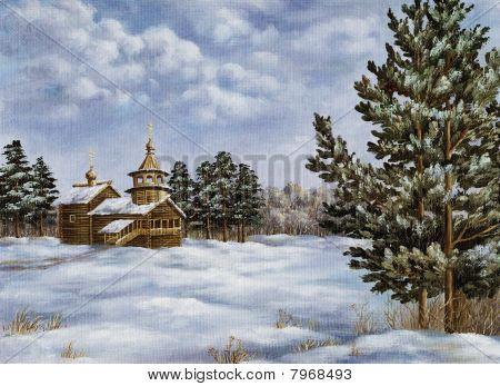 Landschaft mit Pinien und ein templ