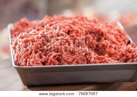Closeup of tray filled with minced meat in butchery