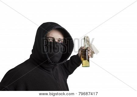 Black Block Fellow With Molotov Cocktail