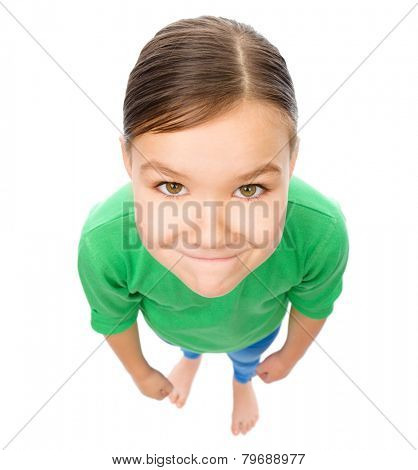 Funny little girl, fisheye portrait, isolated over white