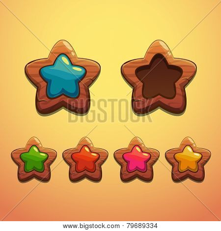 Set of cartoon wooden stars