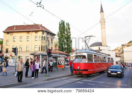 SARAJEVO, BOSNIA AND HERZEGOVINA - NOVEMBER 05, 2009: Cable car in Sarajevo. It is important part of the public transportation system and adds value to the authenticity of this historical city.