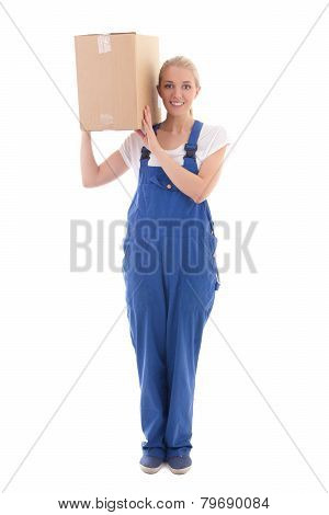Delivery Concept -  Woman In Blue Workwear With Cardboard Box On Shoulder Isolated On White
