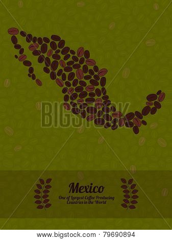 Mexico map made of roasted coffee beans. Vector illustration.
