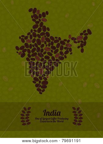India map made of roasted coffee beans. Vector illustration.
