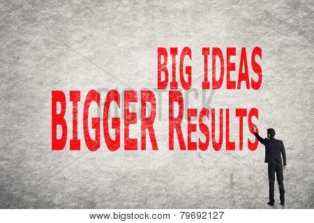 Asian business man write words on wall, Big Ideas Bigger Results