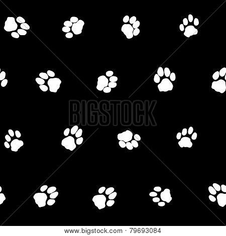 Contrast black and white seamless pattern with cat footprints.