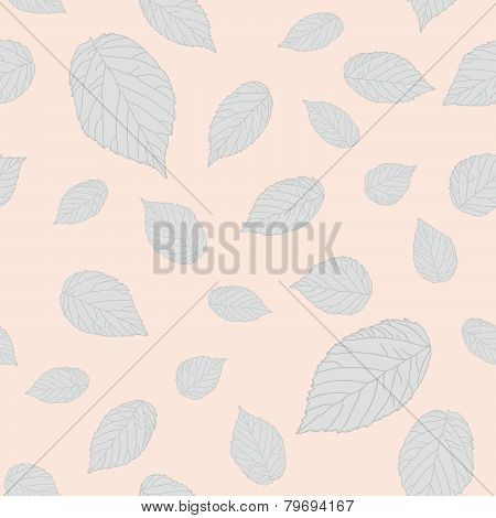 Light grey raspberry leaves. Bright pastel seamless pattern.