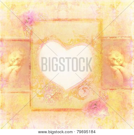 Vintage Background With Frame And Angels