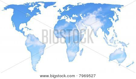 sky and clouds map of the world