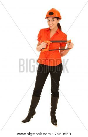 Lady With Saw And Hard Had