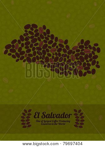 El Salvador map made of roasted coffee beans. Vector illustration.
