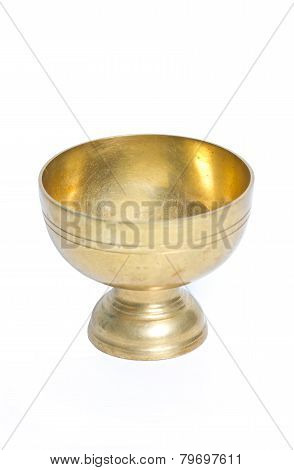Thai Brass Bowl Isolated On White.