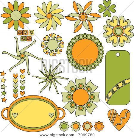 Beautiful vector tags, flowers, hearts and stars