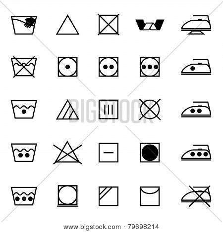 Fabric Care Sign And Symbol Icons On White Background