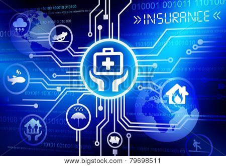 Concept of insurance in cloud computing format vector