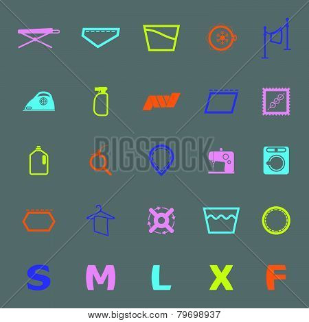 Cloth Care Sign And Symbol Color Icons